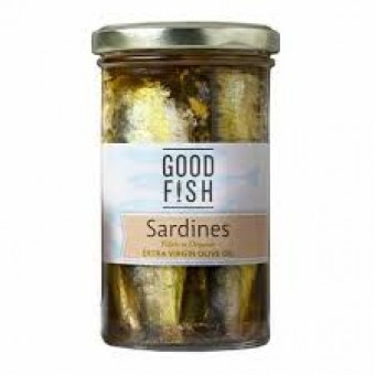 Groceries - Fish - Sardines in  Olive Oil - Glass Jar 277g - Good Fish