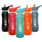 Groceries - ECO VESSEL - Recycled Glass Water Bottle - In Black Shadow with flip straw lid -  650ml - RRP - $34.95