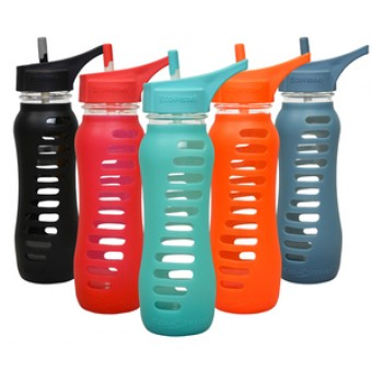 Groceries - ECO VESSEL - Recycled Glass Water Bottle - In Raspberry Pink with flip straw lid -  650ml RRP - $34.95