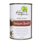 Groceries - Organic - Seeds -  Lentils Brown 400g tin Global Organics