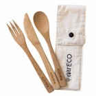 Groceries - Eco Friendly Re-usable Cutlery - Ever Eco - Bamboo Cutlery Set with Organic Cotton Pouch